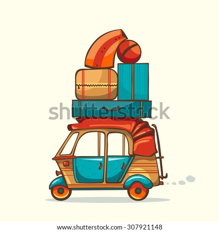Vector illustration - cartoon auto rickshaw with summer luggage. Vacation trip.  - stock vector