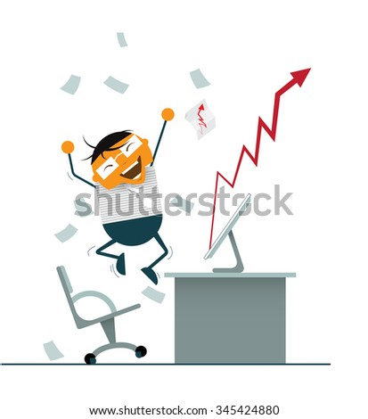 Vector Illustration cartoon. Businessman happy and Successful Invest in Stock Market. Business man falling the money and jumping in front of computer. Arrow graph showing going up increasing for sale  - stock vector