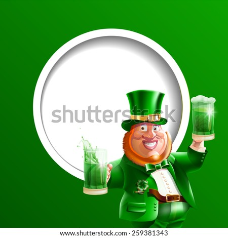 Vector illustration cartoon character of Irish or leprechaun in green suit, hat, clover with green beer and ale in hand on green background. march. Spring. Happy St. Patrick's Day.