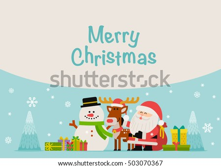 Vector illustration - Cartoon character of Santa Claus, snowman and Reindeer