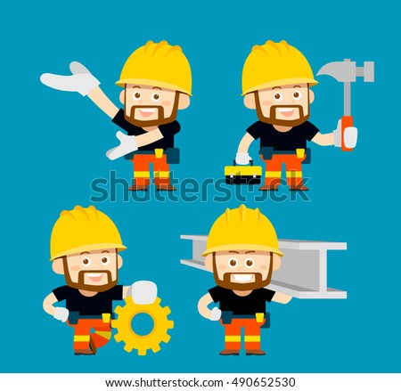 Vector illustration - cartoon character of worker,builder