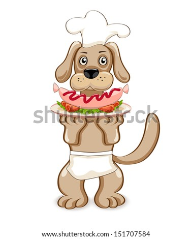 vector illustration cartoon dog-chef with sausage-eps10