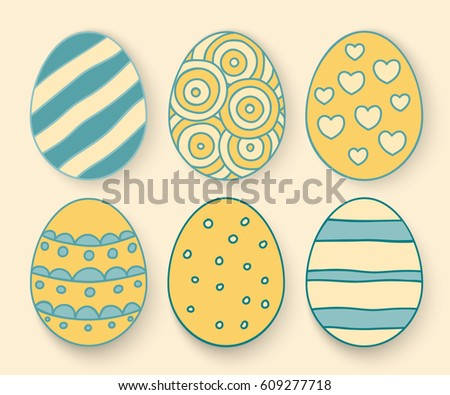 Vector illustration: cartoon egg icons with different ornaments for Easter holidays design isolated on yellow background.