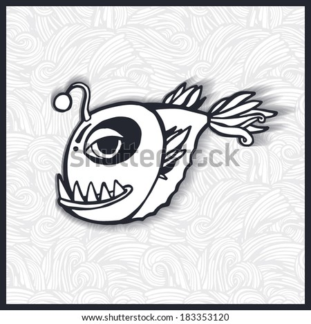Vector illustration. Cartoon fish with big teeth. - stock vector