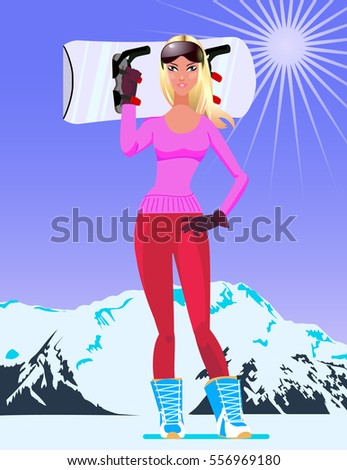 Vector illustration cartoon girl character with snowboard on mountain background.