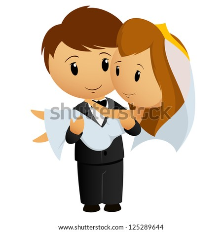 Vector illustration. Cartoon groom carrying bride holding her in his arms - stock vector