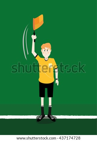 vector illustration cartoon of soccer assistant referee linesman flag off side signals in action - stock vector