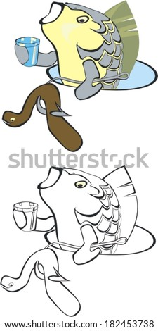 Vector illustration. Cartoon of winter fishing - fish in the hole eats a worm, and drink of that glass  - stock vector