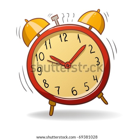 Vector illustration. Cartoon red alarm clock with gold bells - stock vector