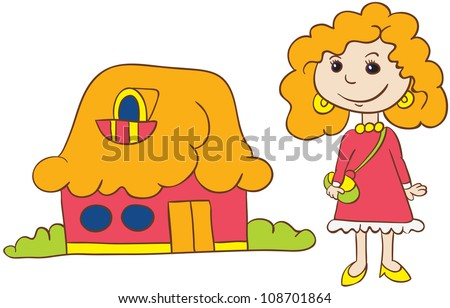 vector illustration- cartoon redhead  young woman in dress  and shoes with handbag standing near her  house  on white background - stock vector