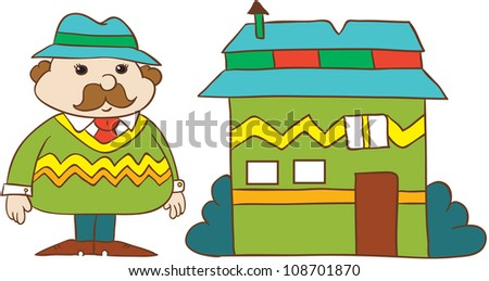 vector illustration- cartoon  young man in  hat and stripy  sweater with moustache standing near  his house  on white background - stock vector