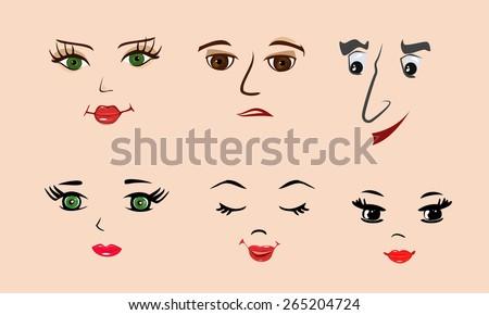 Vector illustration. Cartooning faces - stock vector