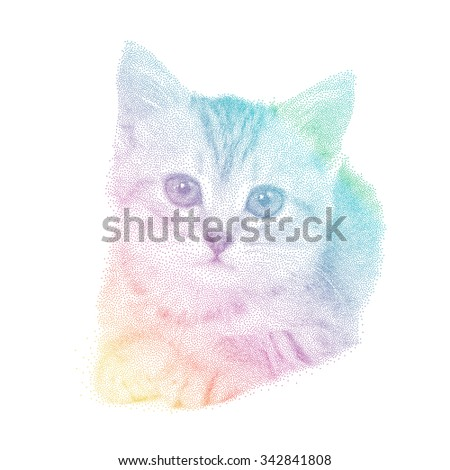 Vector illustration cat in spectrum stipple graphic style- pointillism over white - stock vector