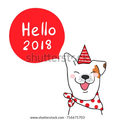 Bon Vector Illustration Character Design Of Cute Dog With Word Hello 2018 In  Red Speech Bubble And