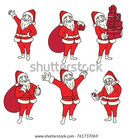 vector illustration character of christmas santa claus in various poses and activities outline linear - Santa Claus Activities