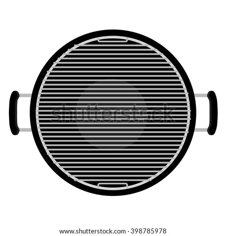 Vector illustration charcoal barbecue grill top view. Empty bbq  - stock vector