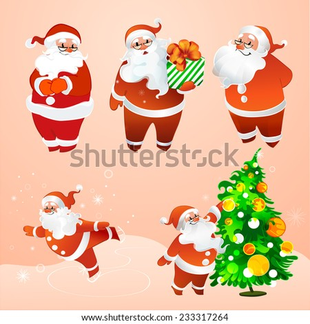 vector illustration cheerful Santa Claus in glasses - stock vector