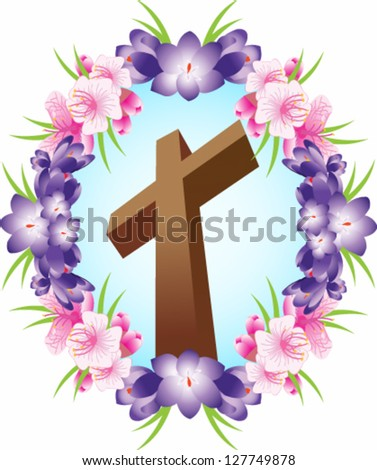 Vector illustration. Christian Cross in floral circle. - stock vector