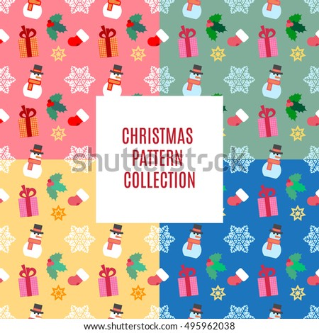 vector illustration christmas and new year pattern collection