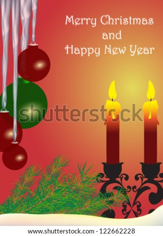 Vector illustration. Christmas candle - stock vector