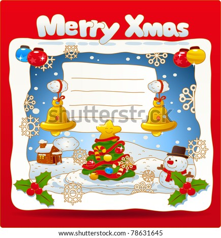 Vector illustration, Christmas card, Merry X'mas, Greeting card - stock vector