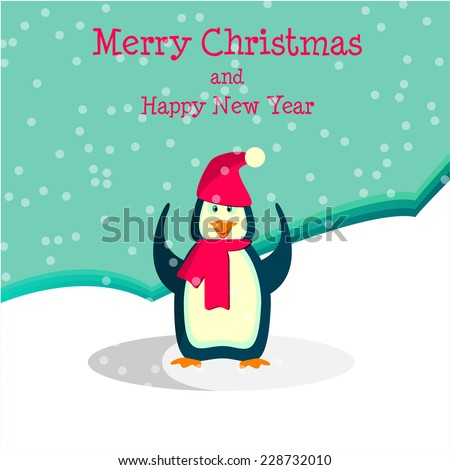 vector illustration Christmas card with a happy penguin in hat - stock vector