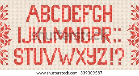 Vector illustration Christmas Font: Scandinavian style  knitted letters and pattern.