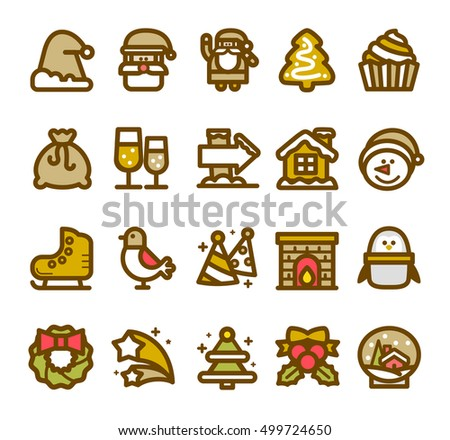 Vector illustration - Christmas line icon set