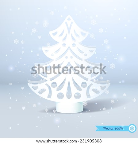 Vector illustration. Christmas tree and snowing. Imitation volume paper art. New Year's designs. Realistic shadows. - stock vector