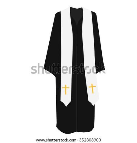 Vector illustration church prayer priest pastor or preacher clothing costume.  - stock vector