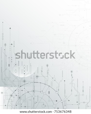 Vector illustration circuit board and hexagons background. Hi-tech digital technology and engineering, digital telecom technology concept. Vector abstract futuristic on light gray color background