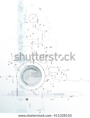 Vector illustration circuit board, Hi-tech digital technology and engineering, digital telecoms technology concept. Abstract futuristic on light blue color background - stock vector
