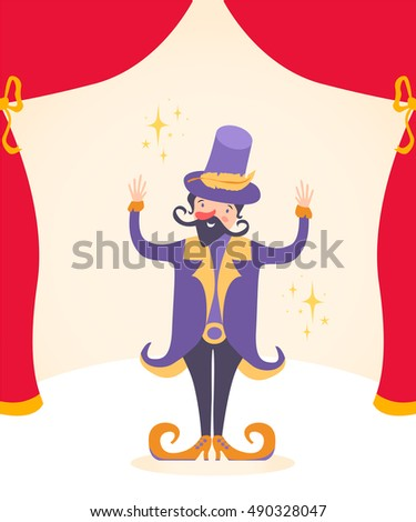 Vector illustration, circus entertainer, card concept, beautiful background.