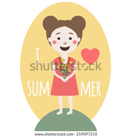 Vector illustration. Cite smiley girl holding bouquet of flowers and loves summer