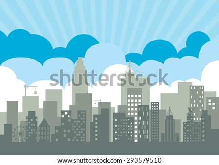 vector  illustration city background   building  sky  community  congested  Graphic  metropolis - stock vector