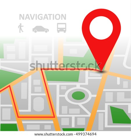 Vector illustration. City Map With red Marker pin. Concepts for location services, maps and navigation. Online and mobile map