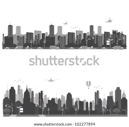 Vector illustration.City skyline and city traffic - stock vector