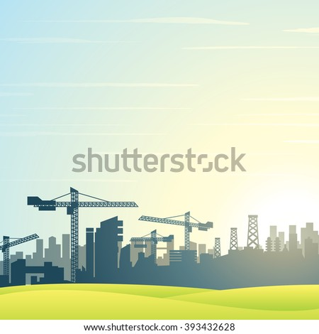 Vector illustration. City Skyline. Buildings Construction - stock vector