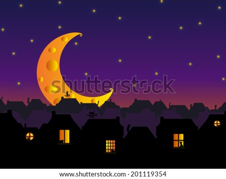 Vector illustration. City skyline (cats city) under the Cheese Moon.