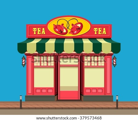 vector illustration city street a small tea shop