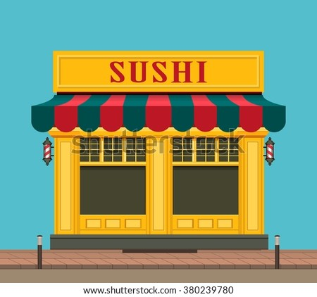 vector illustration city street small Japanese sushi shop