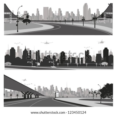 Vector illustration.City traffic.Bridge highway and city skyline  silhouette - stock vector