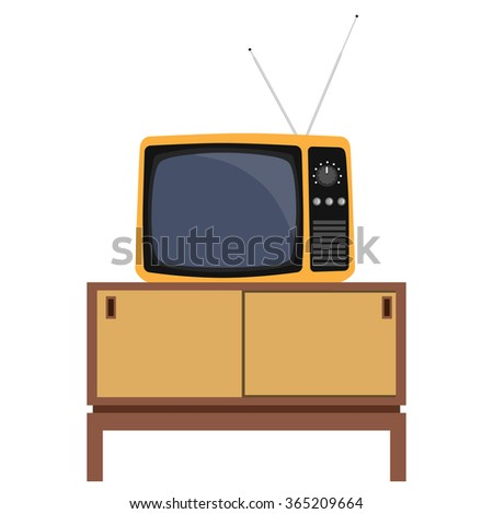 Vector illustration classic living room interior design with retro tv and furniture.