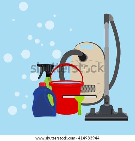 Vector illustration cleaning equipment icon set. Housework appliance - bucket, vacuum cleaner, bottle, spray and window squeegee.  - stock vector