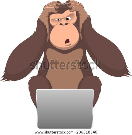 Vector illustration, Clever monkey at a computer - stock vector