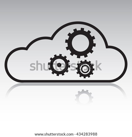 vector illustration cloud with gears icon