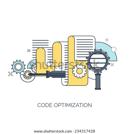 Vector illustration. Code optimization. Flat computing background. Programming and coding. Web development and search. Search engine optimization. Innovation and technologies. Mobile app.