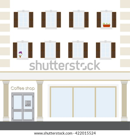Vector illustration coffee shop facade building. Facade of a coffee shop store or cafe. - stock vector
