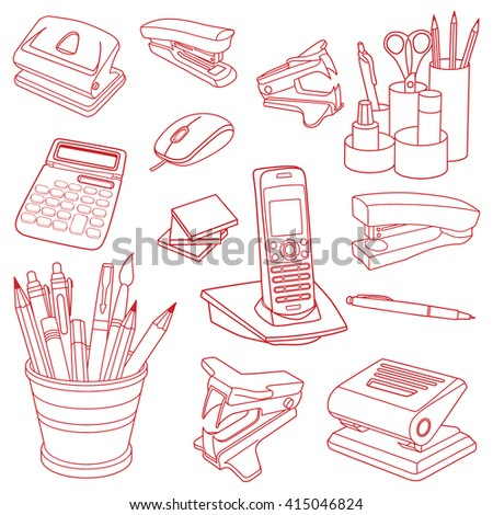 Vector illustration collection of hand drawn doodles of business objects and office items. Isolated on white background - stock vector