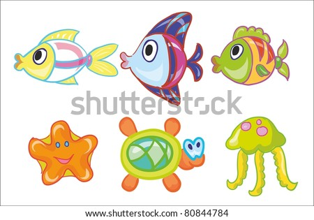vector illustration- collection of sea  and ocean bed inhabitants
